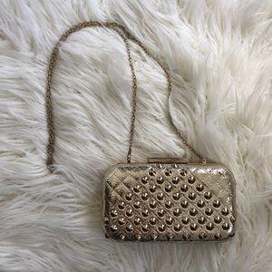 Gold MMS fabric studded night clutch purse chain